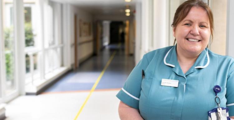 nurse on a hospital corridor